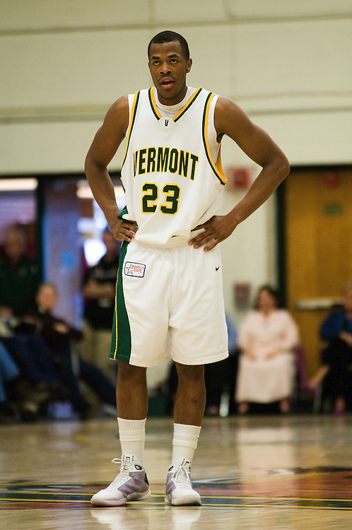 15 February 2009: Catamount junior forward Marqus Blakely #23 looks on during a free throw attempt during the Vermont Catamounts 67-64 win over the Stony Brook Seawolves at Patrick Gym in Burlington, Vermont.