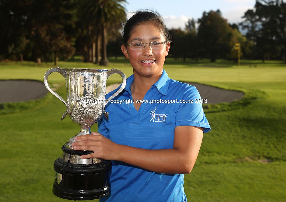 Julianne Alvarez after the final of the 2013 New Zealand Amateur Championship, Manawatu Golf Club, Palmerston North, New Zealand. Sunday 26 April 2013. Photo: John Cowpland / photosport.co.nz