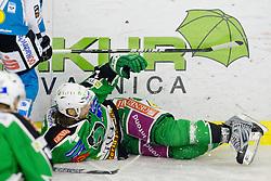 Brad Cole (HDD Tilia Olimpija, #2) during ice-hockey match between HDD Tilia Olimpija and EHC Liwest Black Wings Linz at second match in Semifinal  of EBEL league, on March 8, 2012 at Hala Tivoli, Ljubljana, Slovenia. (Photo By Matic Klansek Velej / Sportida)