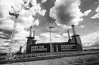 Battersea Power Station. Cranes have become a symbol of London skyline, a costant presence that is evolving London cityscape.