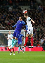 John Stones (R) of England vies with Vincent Janssen of the Netherlands during the International Friendly Match between England and the Netherlands at Wembley Stadium in London, Britain, on March 29, 2016. England lost 1-2. EXPA Pictures © 2016, PhotoCredit: EXPA/ Photoshot/ Han Yan<br /> <br /> *****ATTENTION - for AUT, SLO, CRO, SRB, BIH, MAZ, SUI only*****