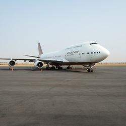 Avião da Atlas Air na placa do Aeroporto Nacional 4 de Fevereiro em Luanda, Angola. Boeing 747