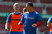 Middlesbrough midfielder Stewart Downing (19) and Middlesbrough midfielder George Saville (22) warming up during the EFL Sky Bet Championship match between Middlesbrough and Stoke City at the Riverside Stadium, Middlesbrough, England on 19 April 2019.