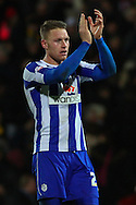 Picture by David Horn/Focus Images Ltd +44 7545 970036<br /> 14/12/2013<br /> Connor Wickham of Sheffield Wednesday applaudes the travelling fansafter Sky Bet Championship match at Vicarage Road, Watford.
