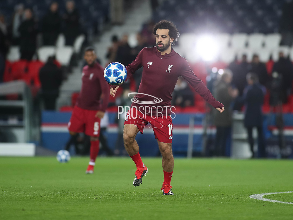 Moahmed Salah of Liverpool warms up during the Champions League group stage match between Paris Saint-Germain and Liverpool at Parc des Princes, Paris, France on 28 November 2018.