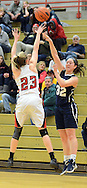 Council Rock North's Hannah Weiler #32 makes a pass as Boyertown's Abby Kapp #23 defends in the second quarter Saturday February 13, 2016 at Boyertown High School in Boyertown, Pennsylvania. (Photo by William Thomas Cain)