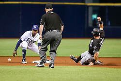 June 8, 2017 - St. Petersburg, Florida, U.S. - WILL VRAGOVIC       Times.Chicago White Sox center fielder Adam Engel (41) steals second base in the first inning of the game between the Tampa Bay Rays and the Chicago White Sox at Tropicana Field in St. Petersburg, Fla. on Thursday, June 8, 2017. (Credit Image: © Will Vragovic/Tampa Bay Times via ZUMA Wire)
