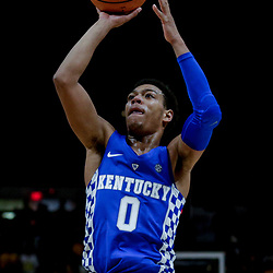 Jan 3, 2018; Baton Rouge, LA, USA; Kentucky Wildcats guard Quade Green (0) shoots against the LSU Tigers during the first half at the Pete Maravich Assembly Center. Mandatory Credit: Derick E. Hingle-USA TODAY Sports