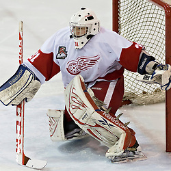 Pickering, ON - Nov 22 : Ontario Junior Hockey League Game Action between Pickering Panthers Hockey Club & Hamilton Red Wings Hockey Club , Mark Sinclair #31 of the Hamilton Redwings Hockey Club protects the crease<br /> (Photo by Dave Powers / OJHL Images)