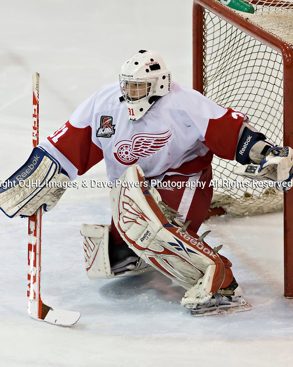 Pickering, ON - Nov 22 : Ontario Junior Hockey League Game Action between Pickering Panthers Hockey Club &amp; Hamilton Red Wings Hockey Club , Mark Sinclair #31 of the Hamilton Redwings Hockey Club protects the crease<br /> (Photo by Dave Powers / OJHL Images)
