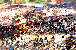 April 14, 2018 - Bhaktapur, Nepal - Local people pull chariot of Bhairab during the celebration of traditional Bisket Jatra Festival or Nepali New Year to welcome spring in Bhaktapur, Nepal. (Credit Image: © Archana Shrestha/Pacific Press via ZUMA Wire)