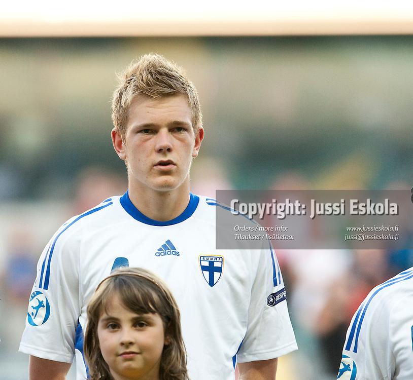 Jonas Portin. Suomi - Espanja. Alle 21-vuotiaiden EM-turnaus, Gamla Ullevi, Göteborg, Ruotsi 22.6.2009. Photo: Jussi Eskola