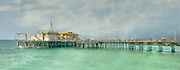 Santa Monica CA Pier Panorama Digitaly enhanced, Aqua Ocean, Fantastic, Unique High dynamic range imaging (HDRI or HDR)