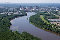 Aerial of Connecticut River and Skyline from north of Hartford, CT