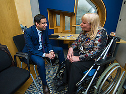 Pictured: Anas Sarwar discusses the health issues associated with the mesh with petitioner Elanine Holmes.<br /> Thousands of Scottish women have been fitted with polypropylene transvaginal mesh to treat pelvic organ prolapse or stress urinary incontinence. As a result women in every Scottish constituency have been severely injured or permanently disabled following this procedure, some have lost organs, many their careers and their relationships.&nbsp; The women and their families  are asking MSPs to sign a pledge <br /> <br /> Ger Harley | EEm 16 March 2017