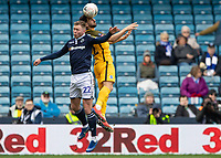 Football - 2018 / 2019 Emirates FA Cup - Sixth Round, Quarter Final : Millwall vs. Brighton<br /> <br /> Aiden O'Brien (Millwall FC) and Martin Montoya (Brighton & Hove Albion) compete for the header at The Den.<br /> <br /> COLORSPORT/DANIEL BEARHAM