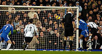 Photo: Ed Godden.<br />Chelsea v Fulham. The Barclays Premiership. 30/12/2006.<br />Chelsea's Didier Drogba (R) scores.
