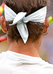 LONDON, ENGLAND - Saturday, July 14, 2018: Beads of sweat on the neck of Rafael Nadal (ESP) during the Gentlemen's Singles Semi-Final match on day twelve of the Wimbledon Lawn Tennis Championships at the All England Lawn Tennis and Croquet Club. (Pic by Kirsten Holst/Propaganda)