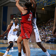 Washington Mystics Rookie Center Stefanie Dolson (31),  grabs the rebound in second half of an WNBA preseason basketball game between the Chicago Sky and the Washington Mystics Tuesday, May. 13, 2014 at The Bob Carpenter Sports Convocation Center in Newark, DEL