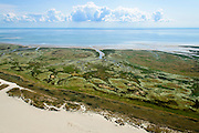 Nederland, Friesland, Terschelling, 05-08-2014;  natuurgebied de Boschplaat. Kwelders of schorren doorsneden door slenken. Voorrond Noordzeestrand, Waddenzee in het verschiet.<br /> Wadden island Terschelling with nature reserve. Salt marsh and channels.<br /> luchtfoto (toeslag op standard tarieven);<br /> aerial photo (additional fee required);<br /> copyright foto/photo Siebe Swart