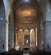 Romanesque apse, Benedictine monastery church of Sant Pere, founded in 977, Besalu, Girona, Spain. Picture by Manuel Cohen