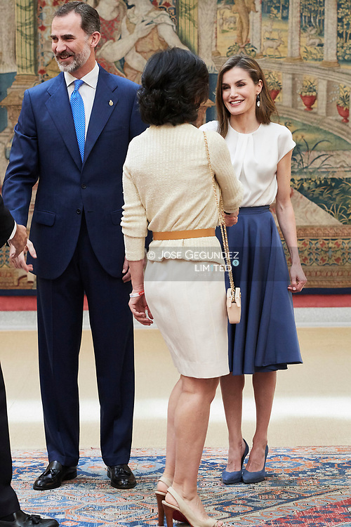 King Felipe VI of Spain, Queen Letizia of Spain, Ana Patricia Botin  attended the annual meeting with members of Princess of Asturias Foundation at El Pardo palace on June 16, 2017 in Madrid, Spain.