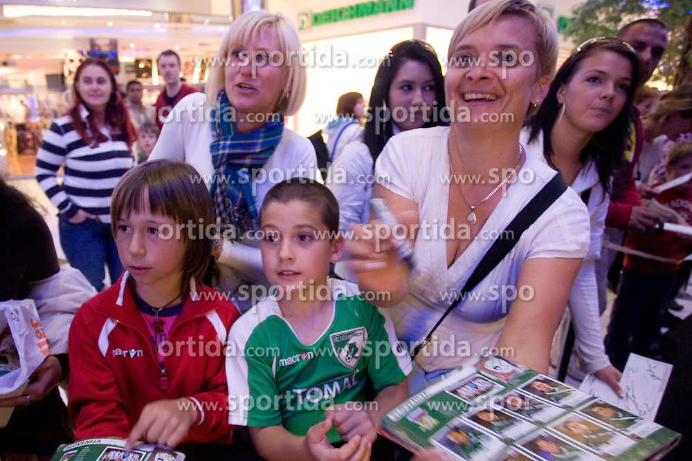 Fans waiting for presentation of Slovenian National Football team in official Dirk  Bikkembergs fashion collection, on May 20, 2010 in Ciytpark, BTC, Ljubljana, Slovenia. (Photo by Vid Ponikvar / Sportida)