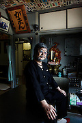 Tokyo, July 4 2012 - Portrait of the Japanese tattoo master Horitoshi in his studio  in the Ikebukuro area. Hirotoshi is spesialized in the large tattoos and 50% of his clients are Yakuzas.