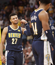March 9, 2018 - Denver, Colorado, U.S - Nuggets JAMAL MURRAY, left, readies to hit forearms with team mate GARY HARRIS, right, after being fouled during the 2nd. Half at the Pepsi Center Friday night. The Nuggets beat the Lakers 125-116  (Credit Image: © Hector Acevedo via ZUMA Wire)