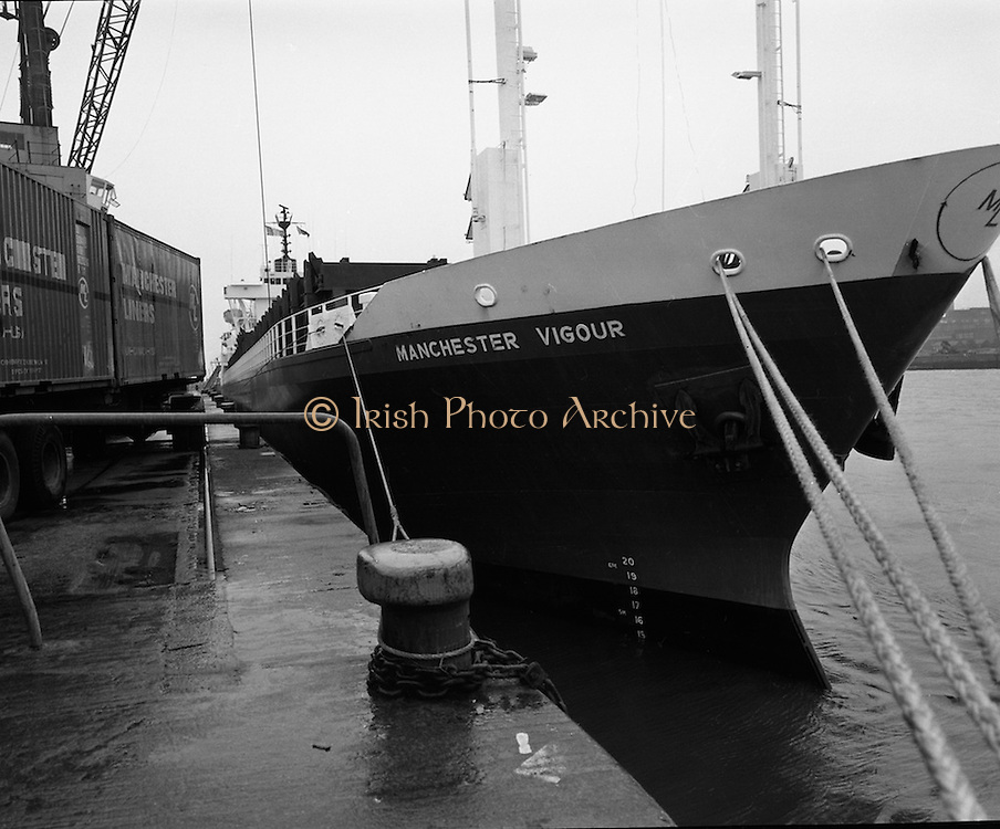 """Manchester Vigour""docks in Dublin.   (F37).1973..16.07.1973..07.16.1973..16th July 1973..En-route from Canada the ""Manchester Vigour""was intercepted by the Irish Naval Service as she was suspected of carrying weapons for dissident groups in the North of Ireland..The ""Manchester Vigour""is pictured docked at Dublin Port where she will be searched by the security forces."