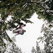 Tyler Hatcher drops off of fallen tree in the backcountry near Mount Baker Ski Area.