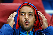 Theo Walcott of Arsenal starts on the bench as a substitute before the UEFA Champions League match at the Emirates Stadium, London<br /> Picture by David Horn/Focus Images Ltd +44 7545 970036<br /> 04/11/2014
