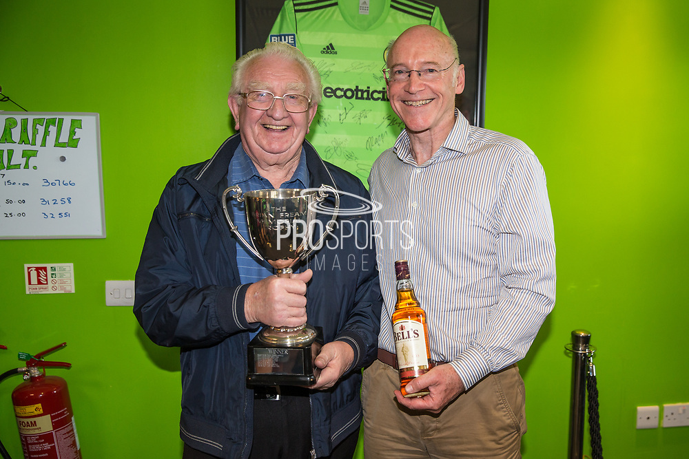 Ken Boulton receives the Brian Fream memorial trophy during the Vanarama National League Play Off second leg match between Forest Green Rovers and Dagenham and Redbridge at the New Lawn, Forest Green, United Kingdom on 7 May 2017. Photo by Shane Healey.