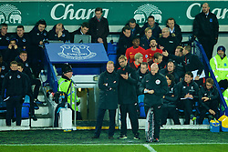 LIVERPOOL, ENGLAND - Monday, December 19, 2016: Liverpool's manager Jürgen Klopp speaks with Everton's manager Ronald Koeman during the FA Premier League match, the 227th Merseyside Derby, at Goodison Park. (Pic by Gavin Trafford/Propaganda)