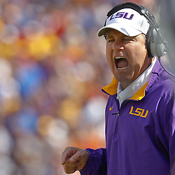 October 8, 2011; Baton Rouge, LA, USA; LSU Tigers head coach Les Miles during the first quarter against the Florida Gators at Tiger Stadium.  Mandatory Credit: Derick E. Hingle-US PRESSWIRE / © Derick E. Hingle 2011