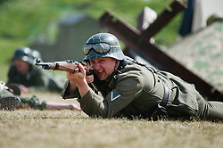 Reenactor portrays a panzer grenadier from the elite German Großdeutschland Division during abattle Reenactment at Fort Paull near Hull May 2011 <br />
