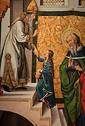 Presentation of the Blessed Virgin Mary in the Temple, detail, oil painting, by Juan de Borgona, 1470-1534, in the Museo Diocesano Cuenca or Cathedral Treasury Museum, in the Episcopal Palace, Cuenca, Spain. The historic walled town of Cuenca is a UNESCO World Heritage Site. Picture by Manuel Cohen