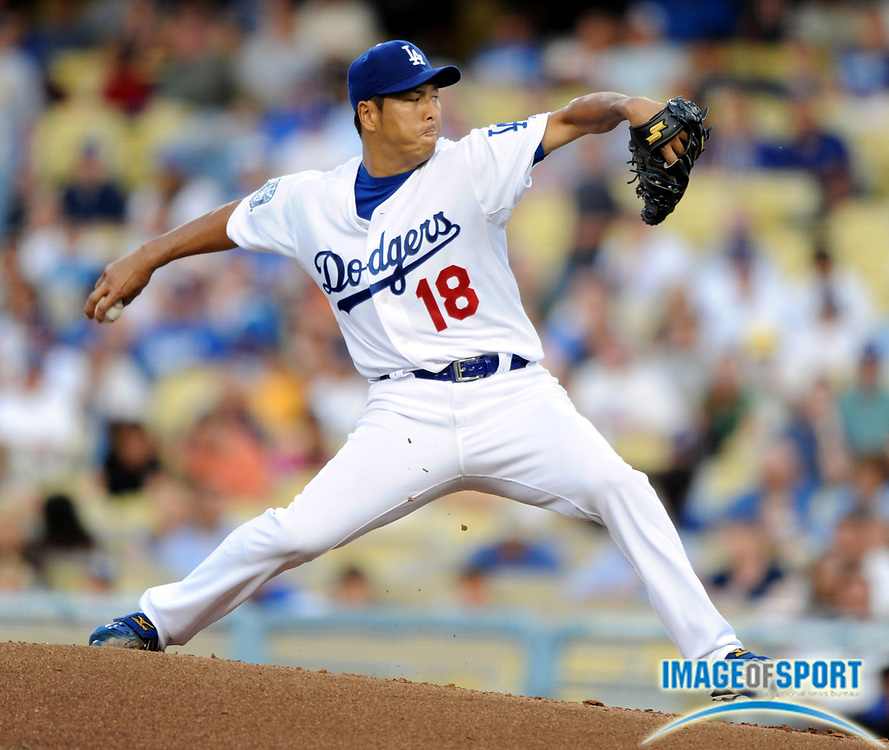 Jul 12, 2008; Los Angeles, CA, USA; Los Angeles Dodgers starter Hiroki Kuroda (18) pitches during game against the Florida Marlins at Dodger Stadium. Mandatory Credit: Kirby Lee/Image of Sport-US PRESSWIRE