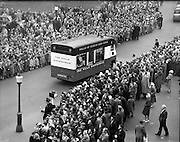 "17/03/1960<br /> 03/17/1960<br /> 17 March 1960<br /> NAIDA Industrial St. Patrick's Day Parade, Dublin. Picture shows the Wills 'Showmobile""."