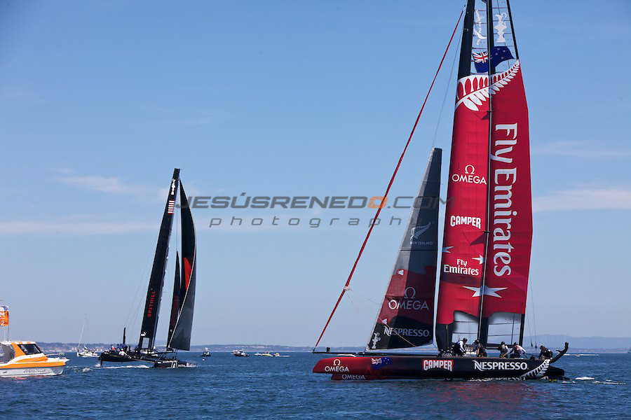AC World Series,Cascais,Portugal.Fleet racing final , winner ENTZ,second Artemis,third oracle Racing 4