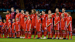 CARDIFF, WALES - Thursday, October 11, 2018: Wales players line-up before the International Friendly match between Wales and Spain at the Principality Stadium. (Pic by Lewis Mitchell/Propaganda)
