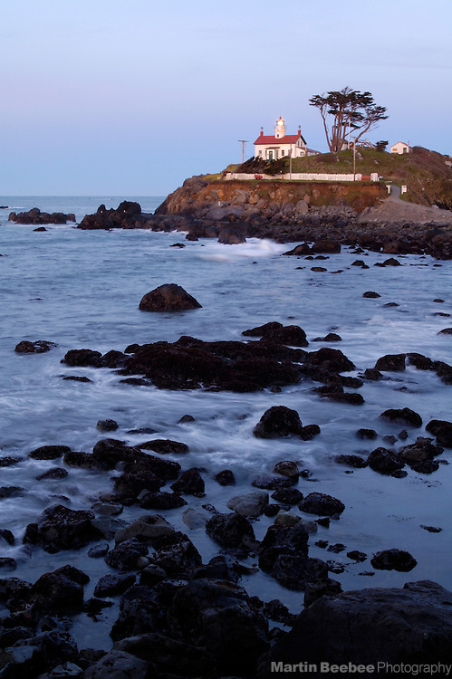 Battery Point Lighthouse on the rocky coast, Crescent City, California