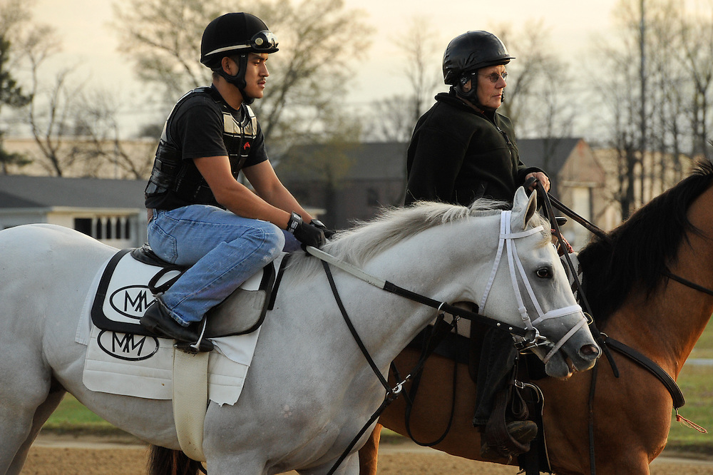Derby hopeful Hansen being led onto the Churchill Downs Trackside training center track for a 4 furlong breeze, with Joel Barrientos in the irons, on Sunday March 18, 2012 in Louisville, Kentucky.