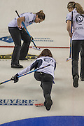 "Glasgow. SCOTLAND.  Scotland's, Skip, Eve MUIRHEAD, watch's her ""Stone"", as team mates left, Vicki ADAMS and right, Lauren GRAY, prepare to sweep, during a ""Round Robin"" Game. Le Gruyère European Curling Championships. 2016 Venue, Braehead  Scotland<br /> Tuesday  22/11/2016<br /> <br /> [Mandatory Credit; Peter Spurrier/Intersport-images]"