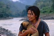 Machiguenga Indian<br />Timpia Community<br />Lower Urubamba River. Amazon Rain Forest.  PERU<br />South America