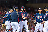 Manager Ron Gardenhire #35 of the Minnesota Twins takes pitcher Brian Duensing #52 out of the game against the Boston Red Sox on May 17, 2013 at Target Field in Minneapolis, Minnesota.  The Red Sox defeated the Twins 3 to 2.  Photo: Ben Krause