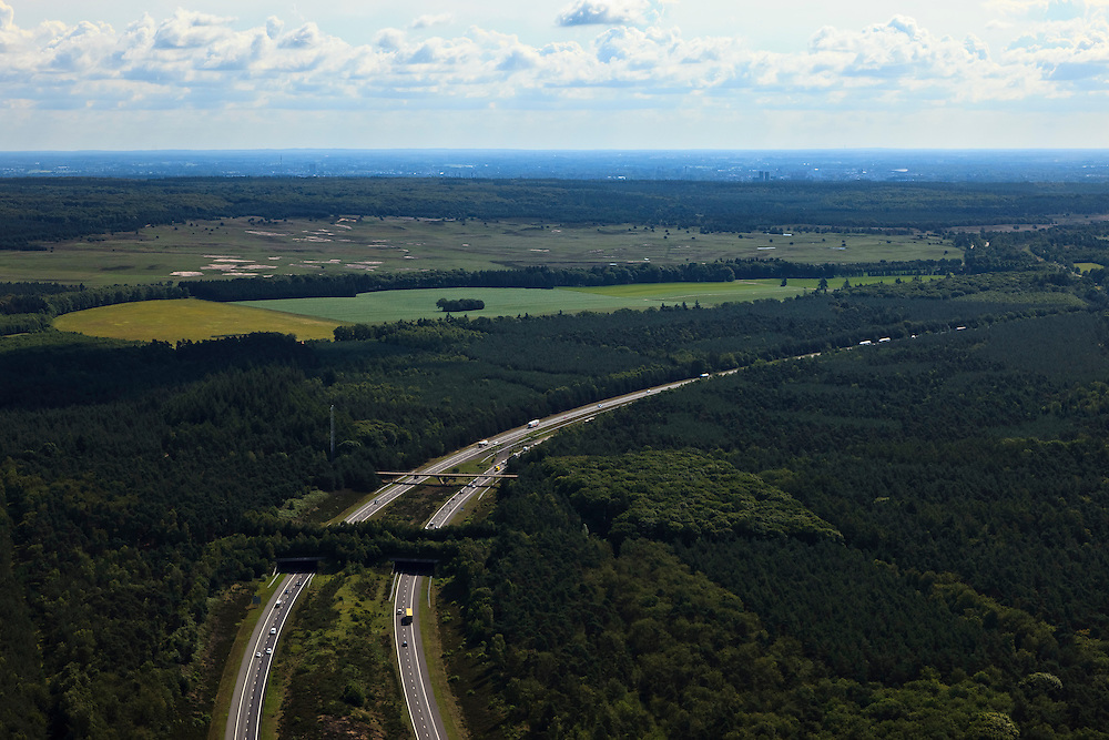 Nederland, Gelderland, Gemeente Barneveld, 30-06-2011; Veluwe met A1 en ecoduct Kootwijk.Highway A1 through nature area the Veluwe, the Netherlands. Ecoduct (wildlife bridge)crossing the highway..luchtfoto (toeslag), aerial photo (additional fee required).copyright foto/photo Siebe Swart