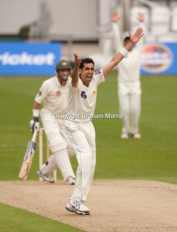 Umar Gul appeals as Michael Hussey is out lbw in the second MCC Spirit of Cricket Test Match between Pakistan and Australia at Headingley, Leeds.  Photo: Graham Morris (Tel: +44(0)20 8969 4192 Email: sales@cricketpix.com) 21/07/10