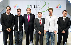 Gregor Krusic, Grega Zemlja, Marko Umberger, Andrej Kavsek, Blaz Kavcic and Jaka Dolenc during press conference of TZS - Slovene Tennis Association after the end of the season 2012/13, on December 3, 2013 in BTC, Ljubljana, Slovenia. Photo by Vid Ponikvar / Sportida