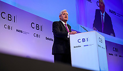© Licensed to London News Pictures. 21/11/2016. London, UK. Paul Drechsler, President, CBI,  speaking at the Confederation of British Industry (CBI) conference, held at Grosvenor House in London.  Photo credit: Ben Cawthra/LNP